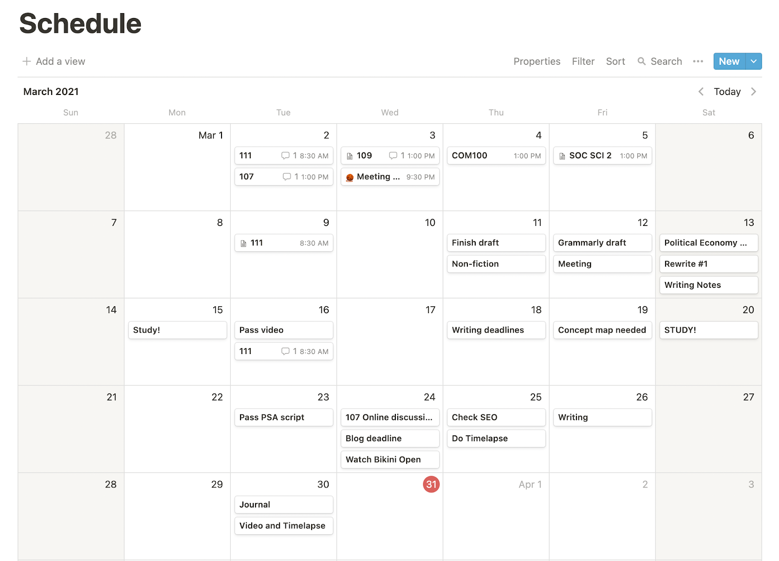 Calendar - Notion for students