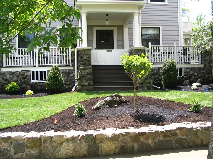 new england landscaper Arlington, MA complete renovation: irrigation, sod, plantings