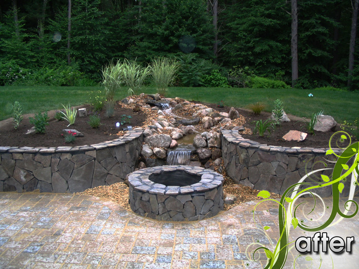 new england landscaper Medford, MA after: water feature,fire pit, sitting wall, patio