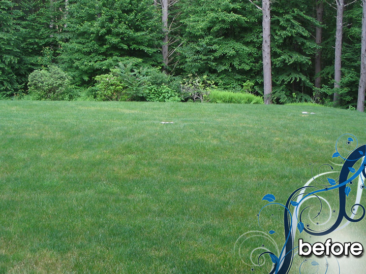 new england landscaper Medford, MA before: water feature,fire pit, sitting wall, patio