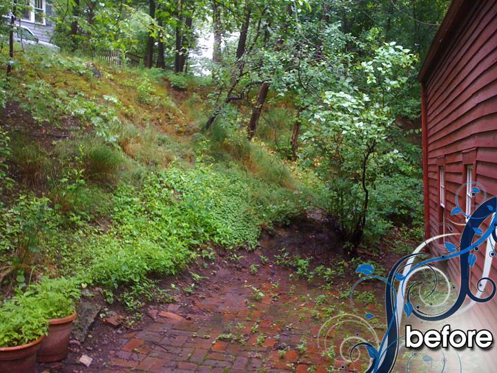 new england landscaper Medford, MA before: stone path, meditation sitting area, landscape lighting