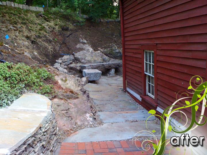 new england landscaper Medford, MA after: stone path, meditation sitting area, landscape lighting