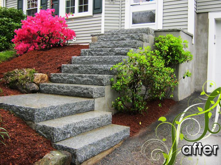 new england landscaper West Medford, MA after: solid granite steps and landing, granite pattern landing, plantings, irrigation