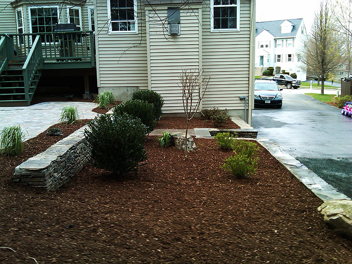 new england landscaper Stoneham, MA hydroseed, Penn. fieldstone wall, solid granite steps, paver patio, plantings, drainage