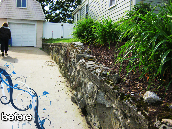 new england landscaper Medford Heights, MA before: cobblestone retaining wall with limestone cap