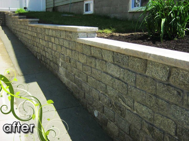 new england landscaper Medford Heights, MA after: cobblestone retaining wall with limestone cap