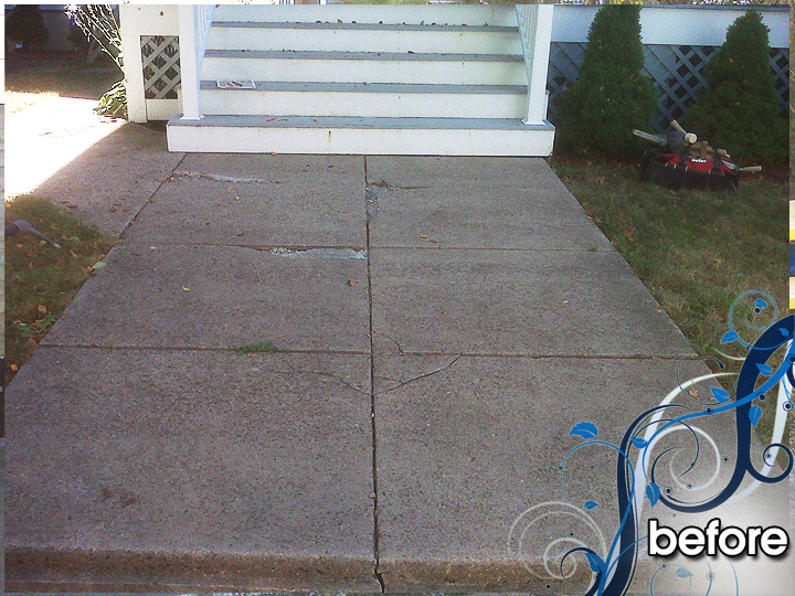new england landscaper Medford, MA before: walkway, natural rock retaining wall with bluestone cap, recessed lighting, plantings