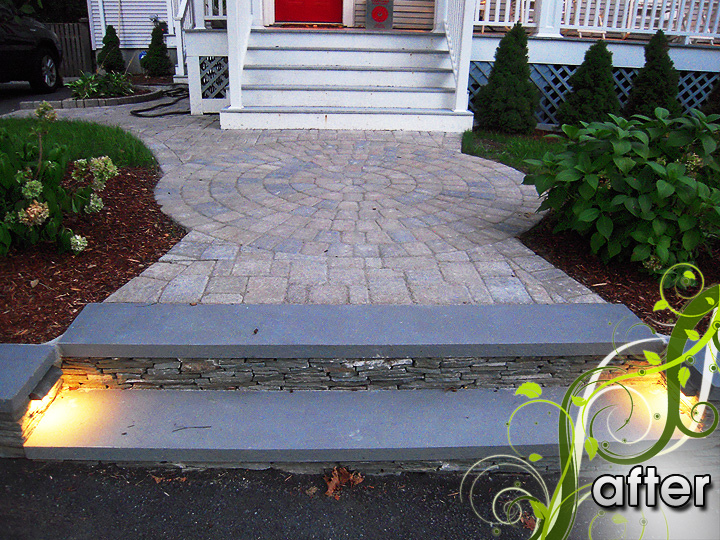 new england landscaper Medford, MA after: walkway, natural rock retaining wall with bluestone cap, recessed lighting, plantings