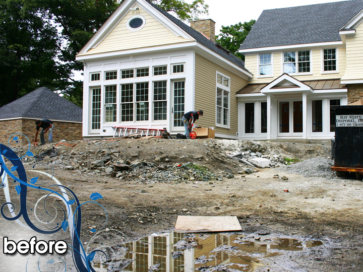 new england landscaper Melrose, MA before: retaining wall, stairs, radiant heat paver driveway, patio, sod, plantings, irrigation