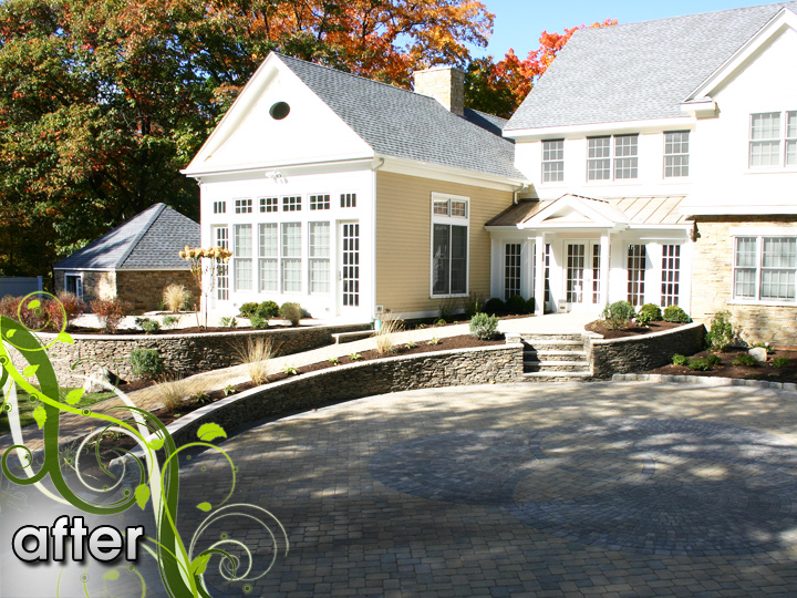 new england landscaper Melrose, MA after: retaining wall, stairs, radiant heat paver driveway, patio, sod, plantings, irrigation