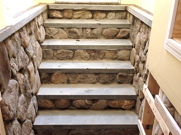 new england landscaper Exeter, NH interior natural stone veneer stairs, bluestone treads