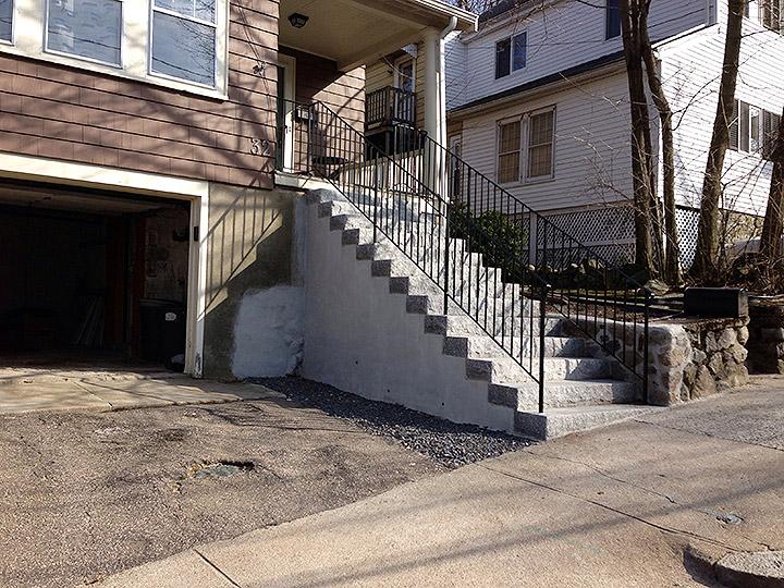 new england landscaper Arlington, MA granite steps