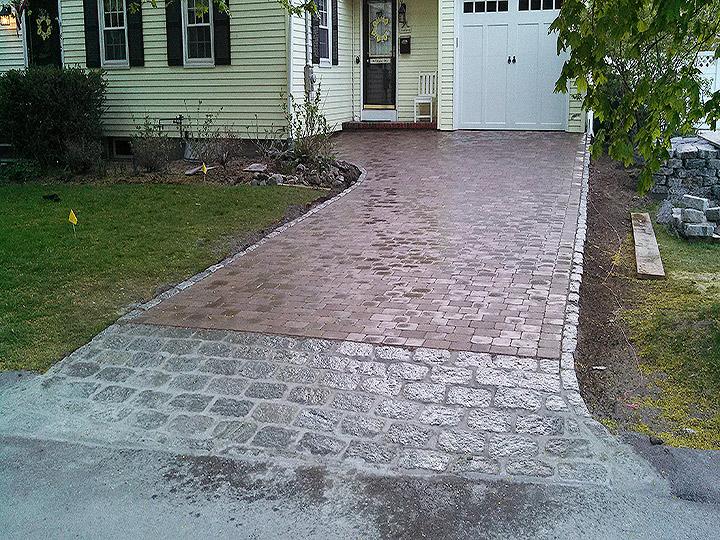 new england landscaper Medford, MA paver driveway, cobblestone appron, cobblestone border