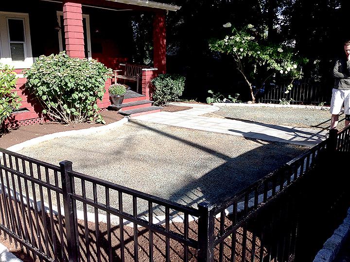 new england landscaper Arlington, MA bluestone walkway, cobblestone edging, hydro-seed, plantings