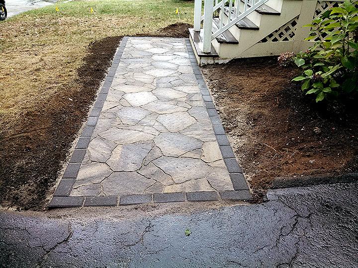 new england landscaper Arlington, MA natural flagstone looking paver walkway