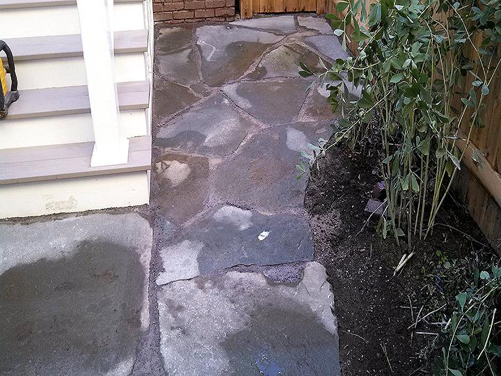 new england landscaper Cambridge, MA irregular bluestone walkway and patio