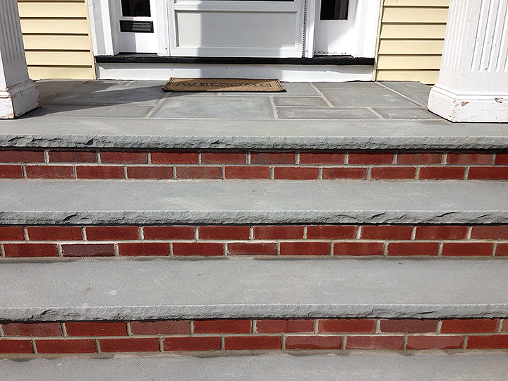new england landscaper Belmont, MA brick stairs, limestone steps and landing