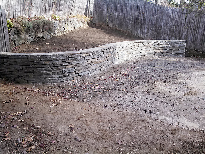 new england landscaper Arlington, MA natural stone wall