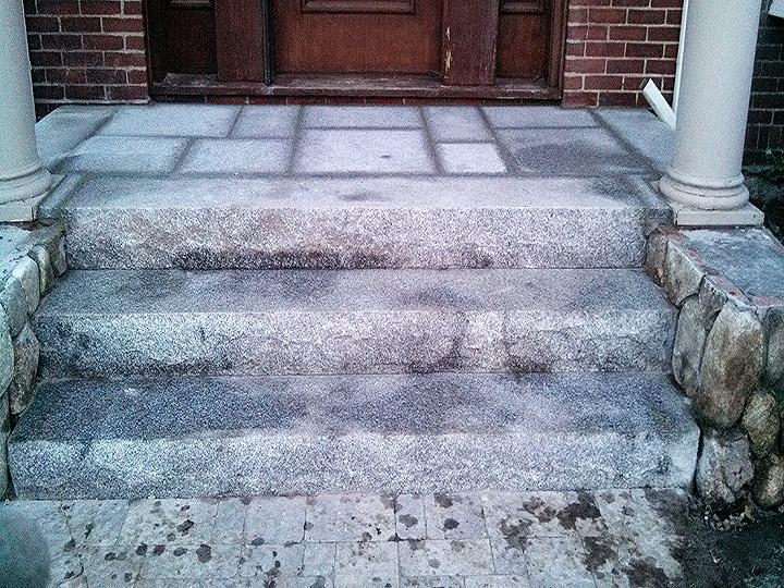 new england landscaper Medford, MA granite steps, granite landing