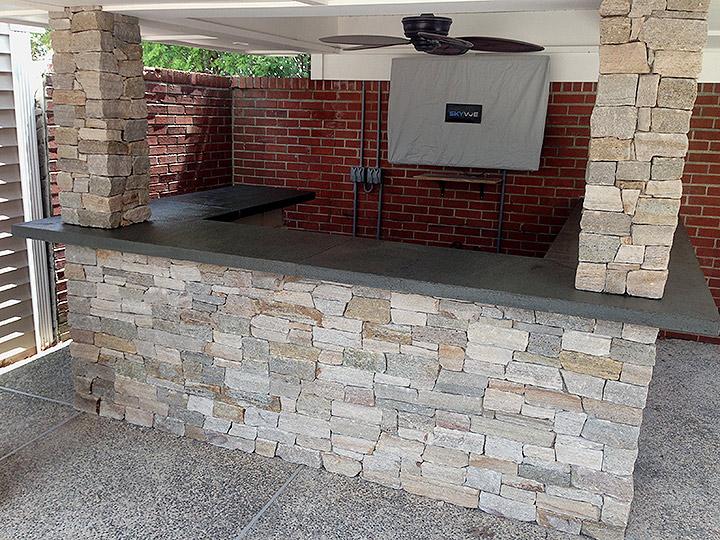 new england landscaper Medford, MA natural stone outdoor bar