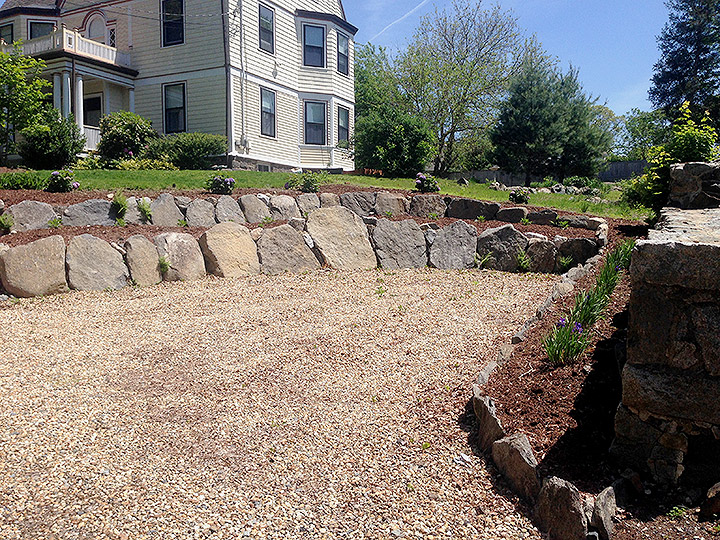 new england landscaper West Medford, MA natural stone wall, plantings