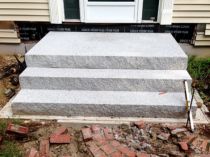 new england landscaper Andover, MA granite steps