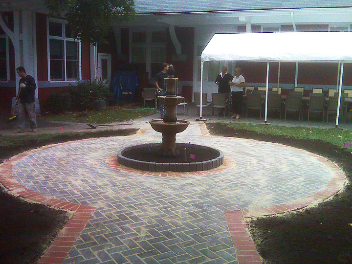 new england landscaper Medford, MA donator inscribed paver walkway, water fountain