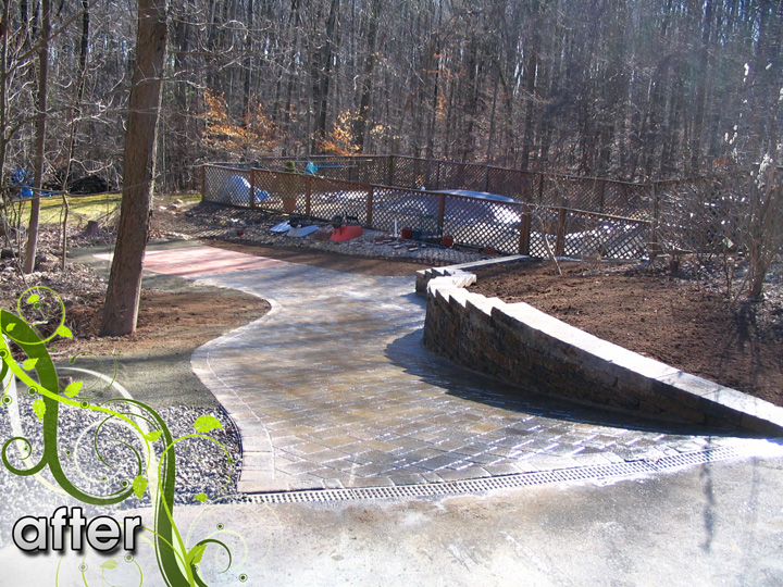 new england landscaper Glastonbury, CT after: retaining wall, paver driveway, drainage system