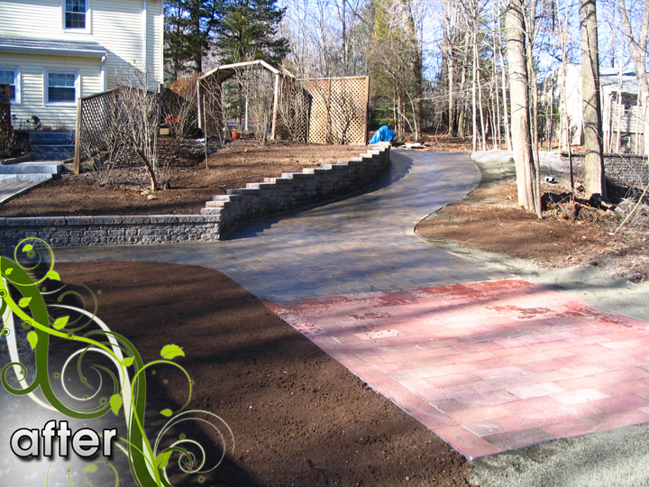 new england landscaper Glastonbury, CT after: retaining wall, paver driveway