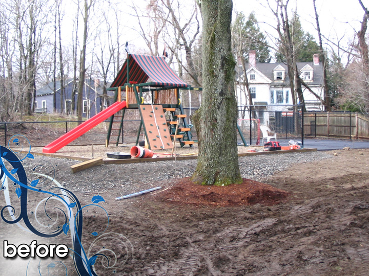new england landscaper Wakefield, MA before: retaining wall, plantings, cobblestone edging, paver walkway and patio