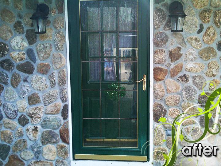 new england landscaper Lynn, MA after: vinyl siding removal, natural rock veneer front entrance