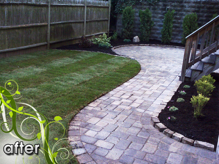 new england landscaper Medford, MA after: paver walkway, cobblestone edge, bulkhead, sod, irrigation, plantings