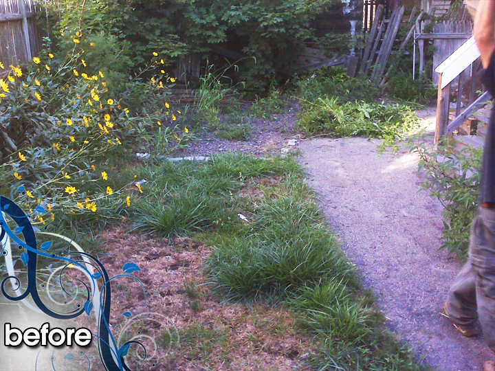 new england landscaper Medford, MA before: paver walkway, cobblestone edge, bulkhead, sod, irrigation, plantings