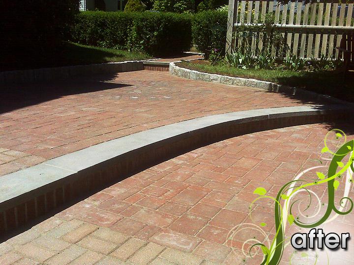 new england landscaper Medford, MA after: paver walkway, cobblestone edge, brick and bluestone step
