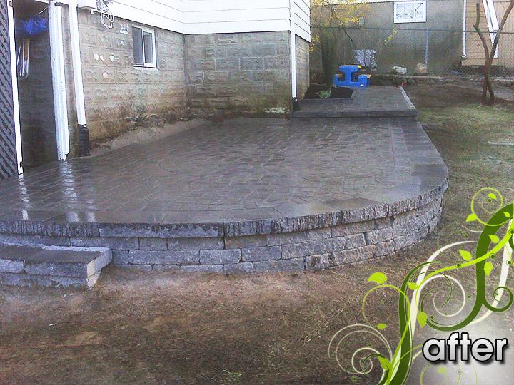 new england landscaper Arlington, MA after: raised patio, retaining wall, walkway, drainage