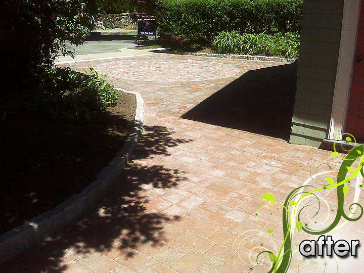new england landscaper Medford, MA after: circle pattern paver driveway and walkway