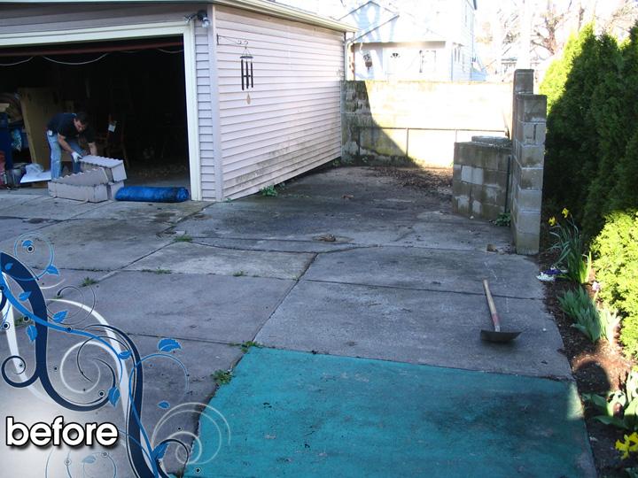 new england landscaper Medford, MA before: brick patio, sod, concrete removal