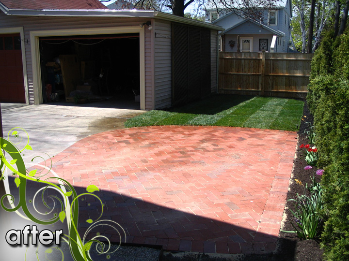 new england landscaper Medford, MA after: brick patio, sod, concrete removal