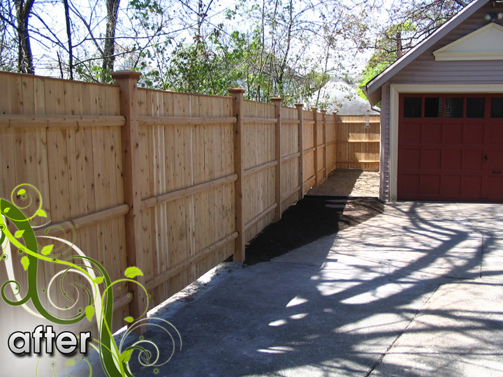 new england landscaper Medford, MA after: wood fence, concrete removal