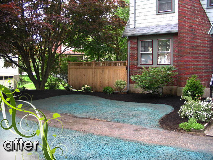 new england landscaper Medford, MA after: plantings, hydroseed