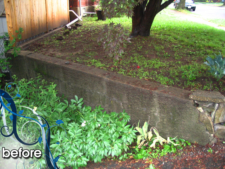 new england landscaper Medford, MA before: retaining wall