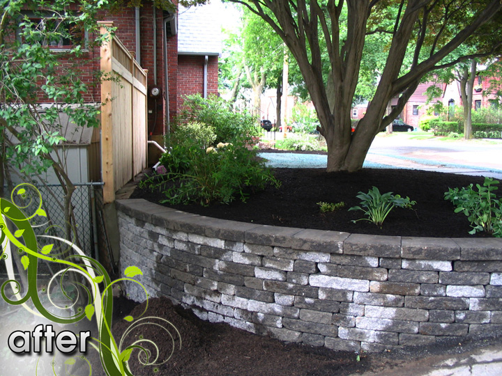 new england landscaper Medford, MA after: retaining wall