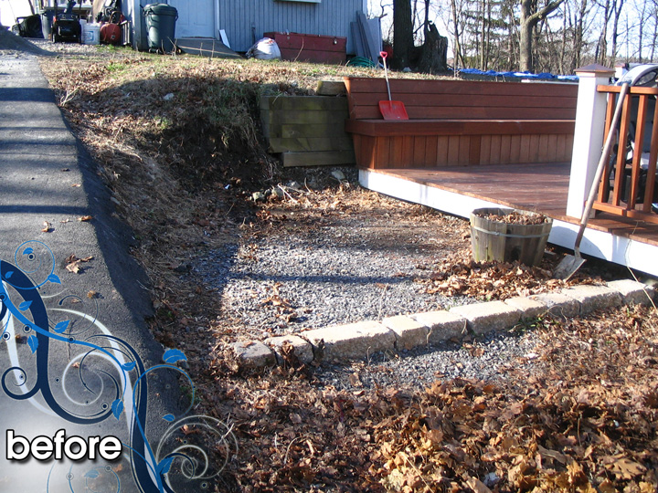 new england landscaper Arlington, MA before: paver patio, retaining wall