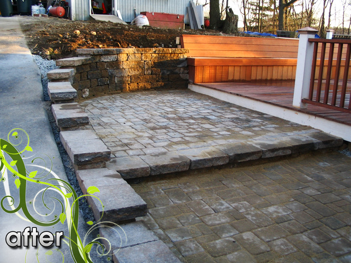 new england landscaper Arlington, MA after: paver patio, retaining wall