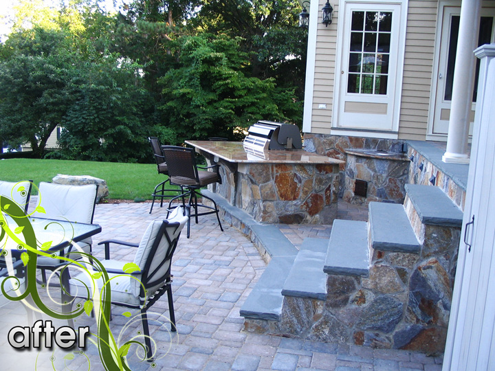 new england landscaper Melrose, MA after: outdoor living space - barbecue & bar