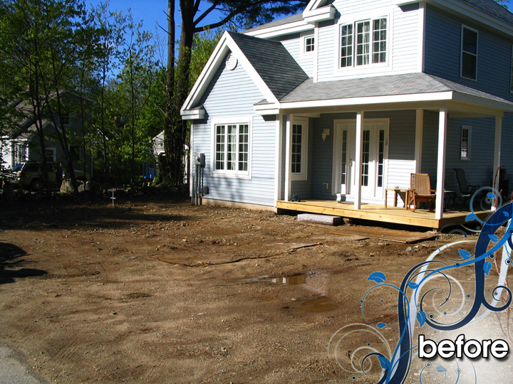new england landscaper Rye Beach, NH complete renovation: driveway, hydroseed, plantings, edging