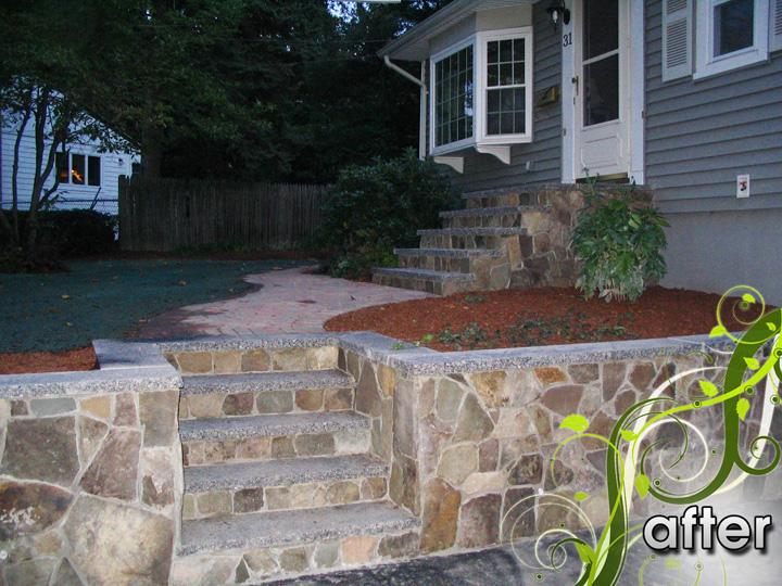 new england landscaper Arlington, MA after: retaining wall