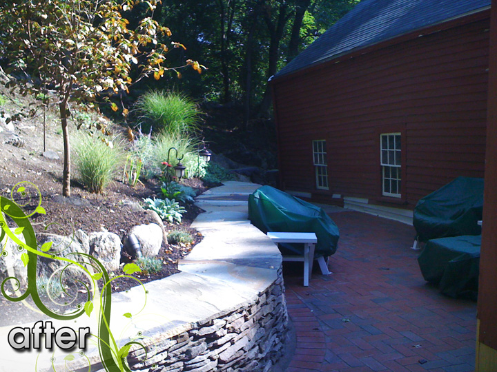 new england landscaper West Medford, MA complete renovation: retaining wall, patio, irrigation, lighting