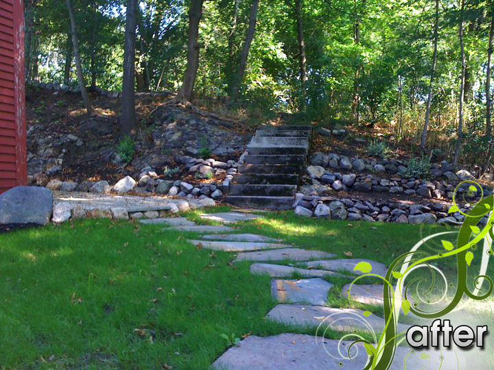 new england landscaper West Medford, MA complete renovation: irregular bluestone, irrigation, hydroseed