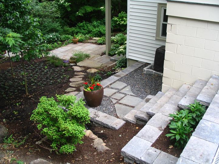 new england landscaper Brookline, MA steps, retaining walls, patios, plantings